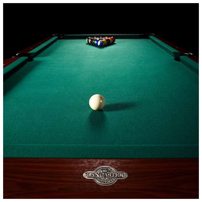 BLL090_128P Lancaster 90-Inch Full Size Green Pool Table w/ Leather Pockets, Cues, and Chalk 1