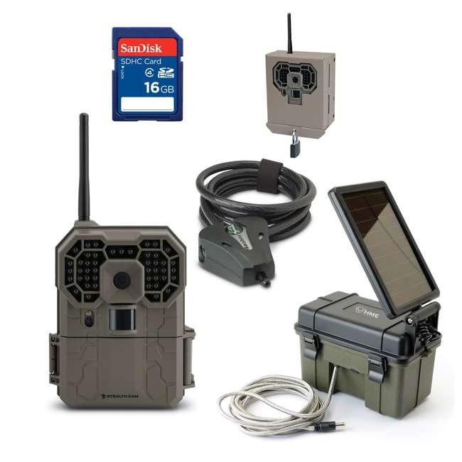 STC-GX45NGW + SD4-16GB-SAN + HME-12VBBSLR + STC-BB Stealth Cam Game Camera & 16GB Card & Battery & Box & Lock Cable