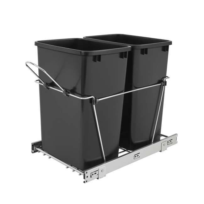 RV-18KD-18C S-30 Rev A Shelf RV-18KD-18C S Double 35 Quart Pull Out Waste Bin Container, Chrome