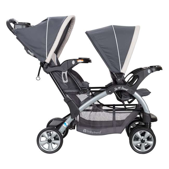 SS76C81A Baby Trend Sit N' Stand Easy Fold 5 Point Harness Double Stroller, Magnolia 1