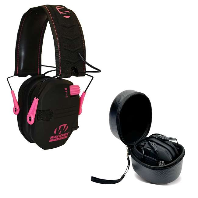 GWP-RSEM-PNK + GWP-REMSC Walkers Razor Slim Electronic Ear Muffs (Pink) & Storage Carrying Case