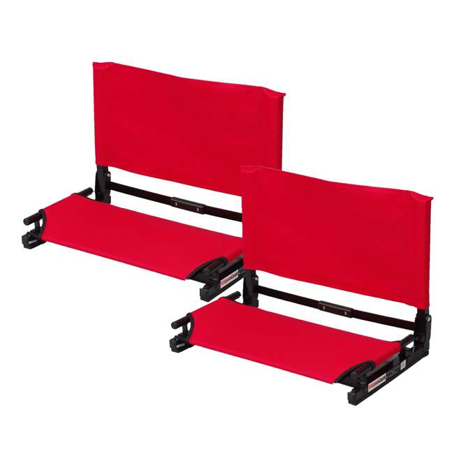 WSC2-RED Stadium Chair Deluxe Game Changer Folding Seat, Red (2 Pack)
