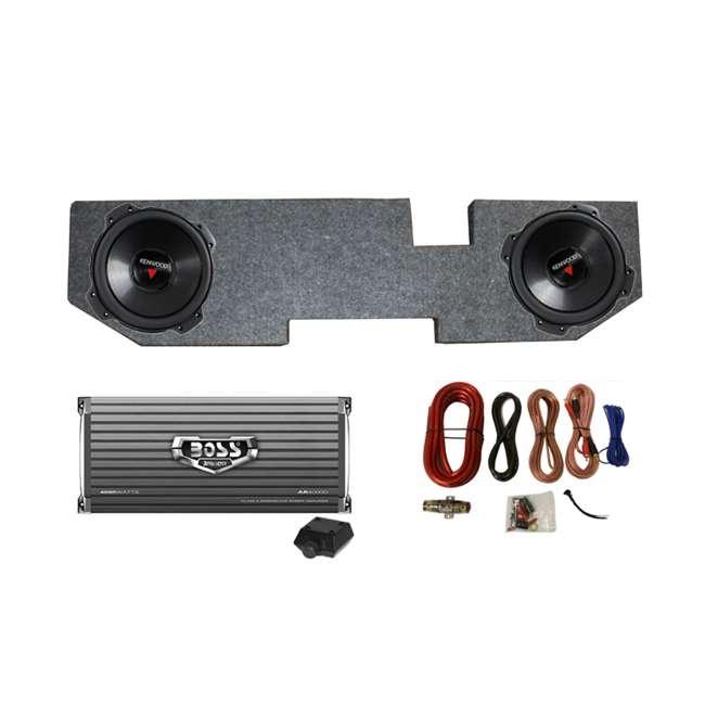 "KFC-W3016PS + QDODGE124DOOR + AR4000D + 4GAUGE Kenwood 12"" 2000W Subwoofer Pair + '02 Dodge Ram Quad Box, Mono Amp & Wiring Kit"