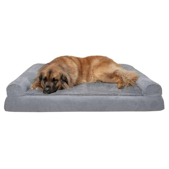45636087 Furhaven Orthopedic Foam Ultra Plush & Suede Sofa Dog Bed, Gray, Jumbo Plus 1