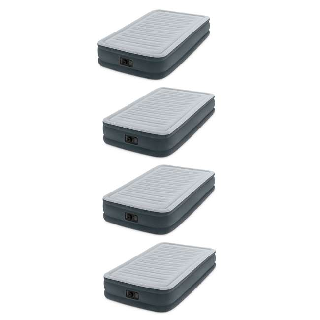 4 x 67765E Intex PVC Dura-Beam Series Mid Rise Airbed with Built In Pump, Twin (4 Pack)
