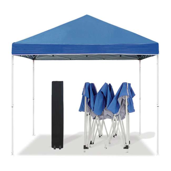 ZSB10EVRBL + ZSHDSK4 + ZSHDWB4 Z-Shade 10 x 10 Foot Instant Pop Up Canopy Tent w/ Steel Stakes & Weight Bags 1