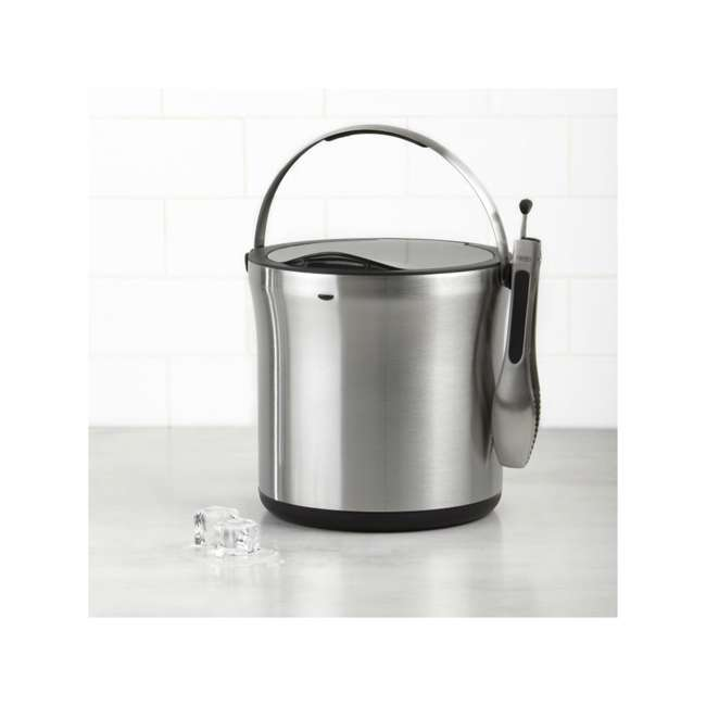 3107300 OXO 3107300 Stainless Steel Insulated Ice Bucket with Clear Lid and Tong Set 1