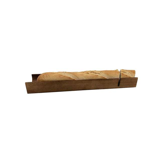 KALMAR-338 Kalmar Home 338 Acacia Wood Home French Bread Loaf Slicer & Serving Tray, Brown 1