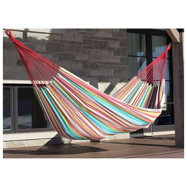 BRAZ126 Vivere Brazilian Style Cotton One Person Outdoor Backyard Patio Hammock, Salsa 1