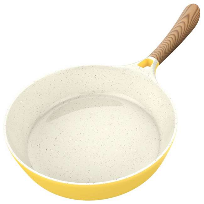 VRM030055N Vremi 1.7 Quart Ceramic Nonstick Angled Frying Pan with Wood Tone Handle, Yellow