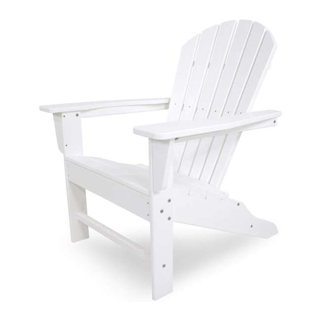 ADIRONDACKW Leisure Classics UV Protected Indoor Outdoor Adirondack Lounge Deck Chair, White