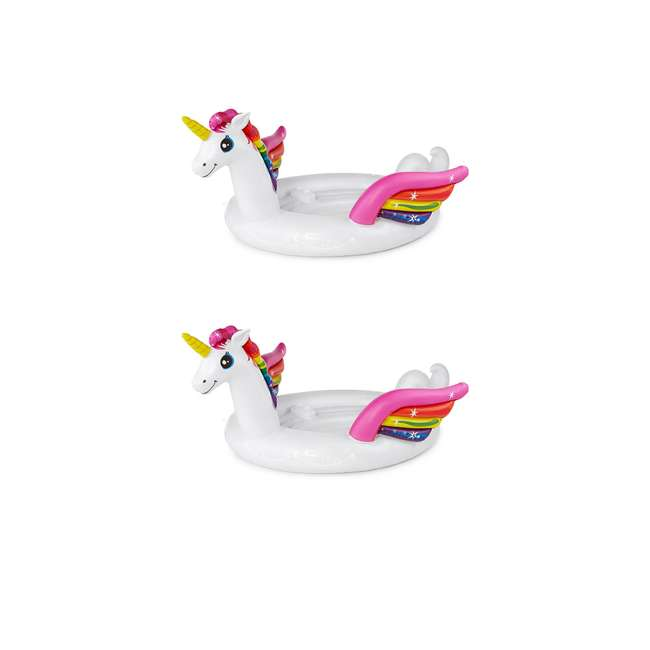 57266EP Intex Inflatable Unicorn Party Island Pool Float (2 Pack)