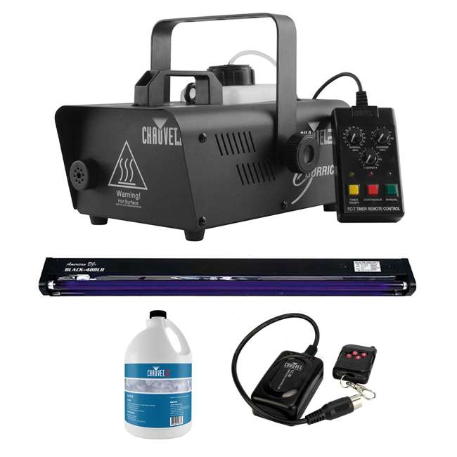 H1200 + BLACK-48BLB + FJU + FC-W CHAUVET DJ Fog Machine + 48 Inch UV Black Light + Smoke Juice + Wireless Remote