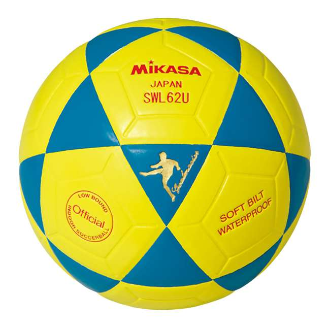 SWL62-BY Mikasa Leather Futsal Indoor Soccer Ball, Blue and Yellow