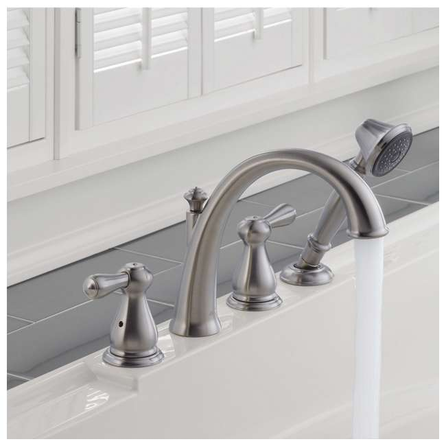 T4775-SS-U-A Delta Faucets Bathroom Roman Tub Trim w/ Hand Shower, Stainless Steel (Open Box) 1
