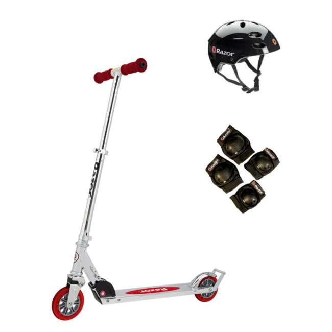 13014360 + 97778 + 96771 Razor A3 Folding Kick Scooter (Red) with Helmet, Elbow & Knee Pads