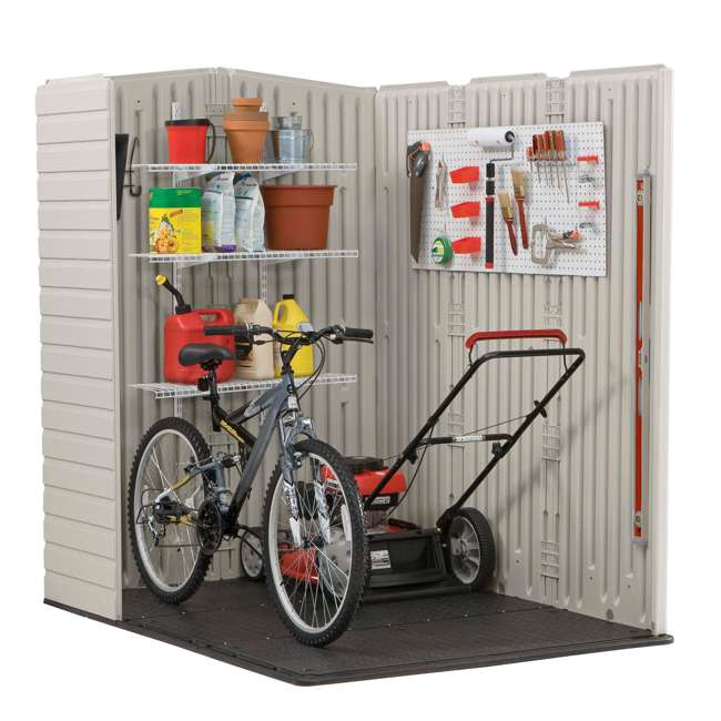 1967674 + 2024654 + 2024656 + 2024651 Rubbermaid 5'x6' Outdoor Gardening & Tools Vertical Storage Shed and Accessories 2