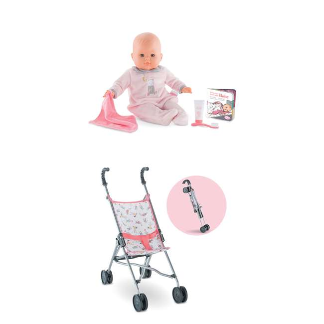 FPK17 + FRV17 Corolle Mon Grand Poupon Eloise Doll Goes to Bed Toy Set & Folding Toy Stroller