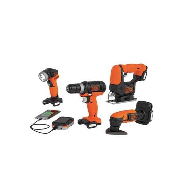 BDCK502C1 + 71-912 Black & Decker Drill Driver, Jig Saw, Sander & Flashlight Kit & Bit Set 1