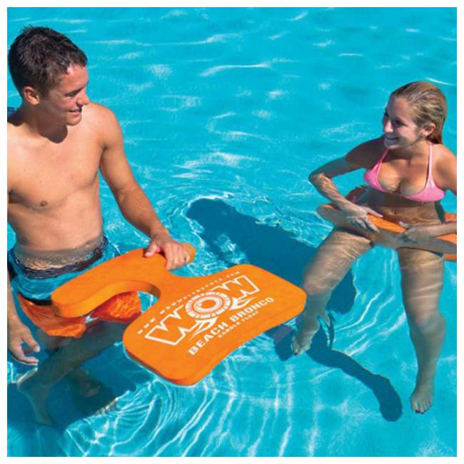 14-2120 WOW Watersports 1 Person Soft Foam Beach Bronco Swimming Pool Saddle, Orange 2
