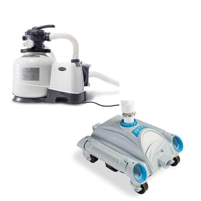 26647EG + 28001E Intex Pool Sand Filter Pump and Automatic Pool Vacuum