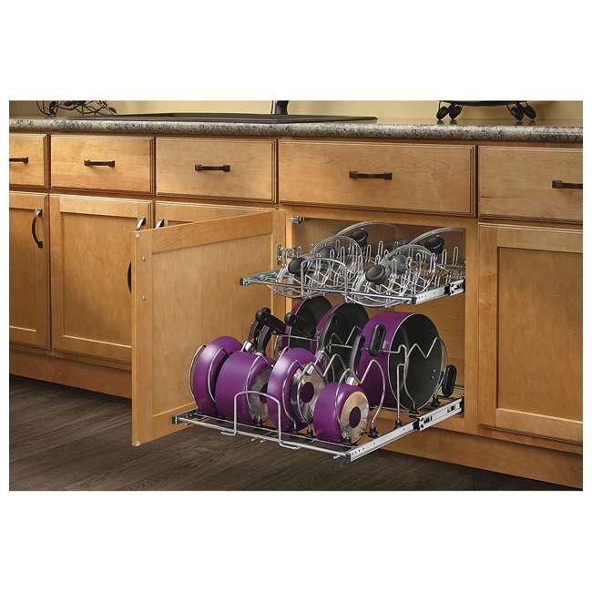 5CW2-2122-CR Rev-A-Shelf 5CW2 Series 21 Inch 2 Tier Wire Organizer for Cookware, Chrome 7