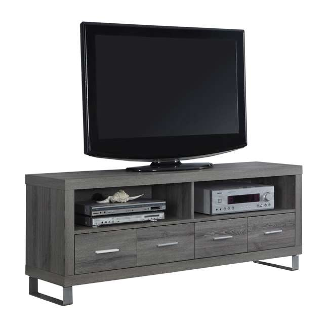 "MS-VM2517-U-B Monarch Specialties 60"" Entertainment TV Stand w/ 4 Drawers, Dark Taupe (Used)"