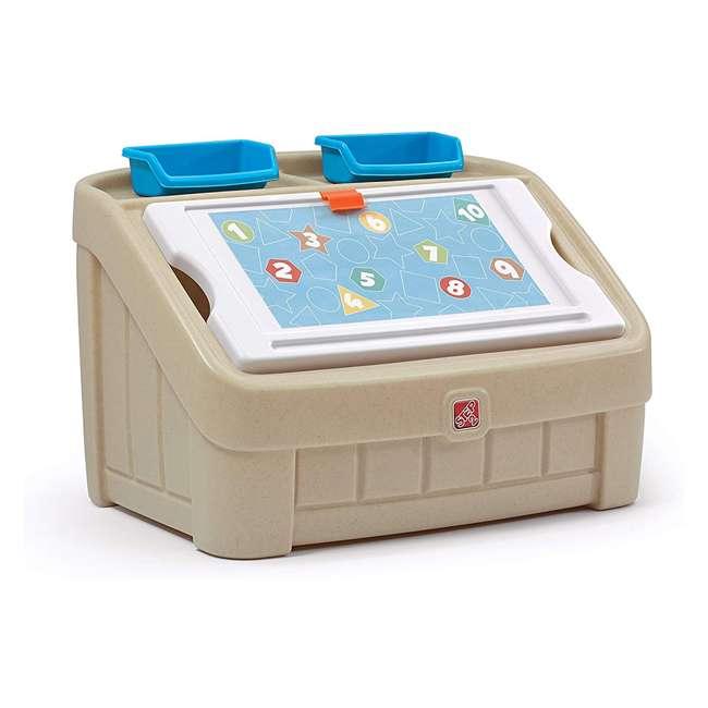 845500 Step2 2-In-1 Kids Organizer Play Toy Box Chest and Art Lid Storage Bin, Tan