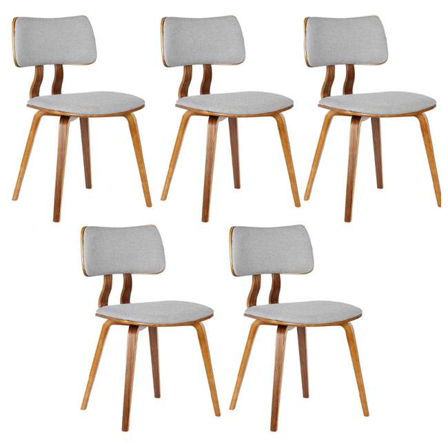 5 x LCJASIWAGRAY Armen Living Jaguar Mid Century Walnut Wood Dining Chair, Gray (5 Pack)