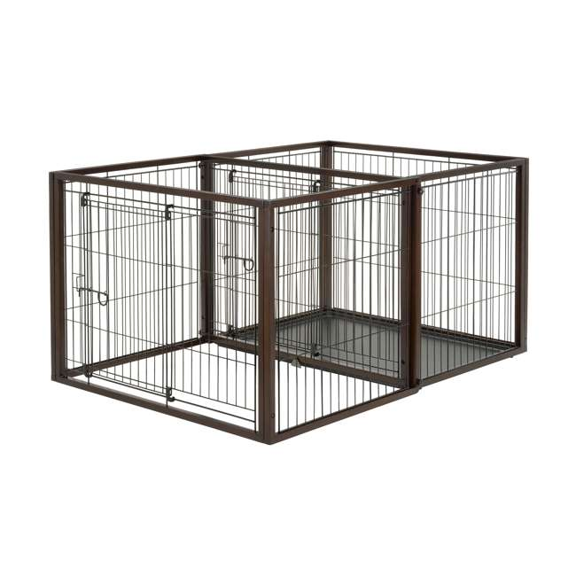 94925 Richell 94925 Flip to Play Medium Size 41 x 29.5 x 31.1 inch Wooden Pet Crate 2