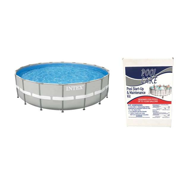 28337EH + QLC-42005 Intex Ultra Frame Swimming Pool Set + Qualco Pool Chemical Maintenance Kit