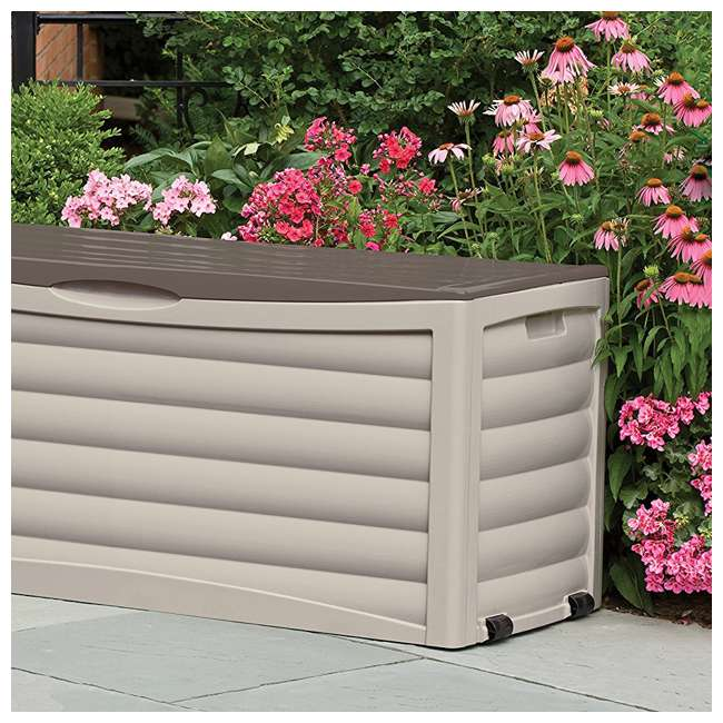3 x DB10300 Suncast 103 Gallon Capacity Resin Outdoor Patio Storage Deck Box, Taupe (3 Pack) 4