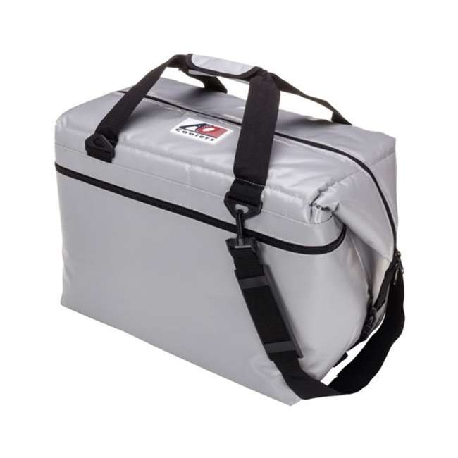 AOFI48SL AO Coolers AOFI48SL 48 Can Vinyl Double Insulated Fishing Soft Cooler, Silver