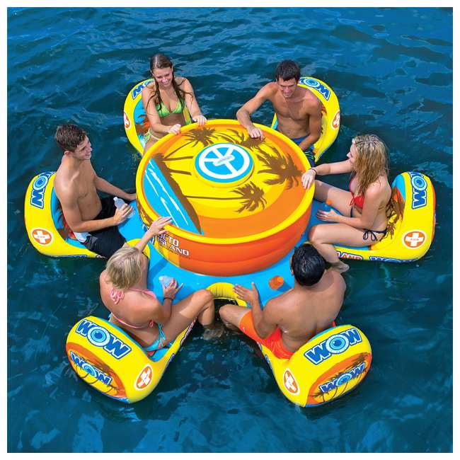 15-2010 WOW Watersports 15-2010 Octo Island 6 Person Pool Float with Cooler and Table 4