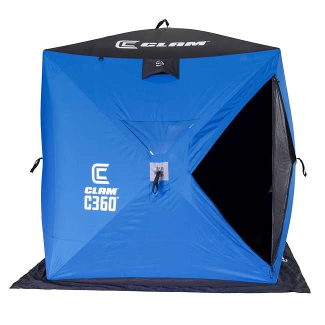 CLAM-14474 Clam 14474 C-360 Portable 6 x 6 Foot Pop Up Ice Fishing Angler Hub Shelter, Blue 1