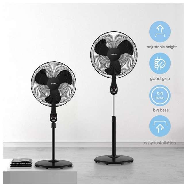 "FS45-18UR PELONIS FS45-18UR 18"" 3-Speed Oscillating Pedestal Fan with LED Display, Black 6"