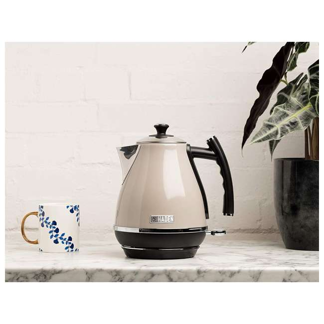 75010 Haden Cotswold 1.7 Liter Stainless Steel Body Retro Electric Kettle, Putty Beige 3