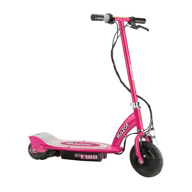 13111261 + 2 x 97783 Razor E100 Electric Ride-On Kids Scooter, Pink (2 Pack) + Helmets 1