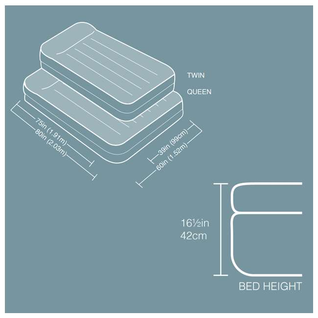 66705E Intex Twin Raised Pillow Rest Airbeds with Built-In Pump (2 Pack) 5