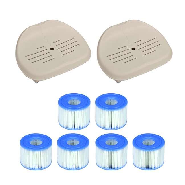 28502E + 3 x 29001E Intex Pure Spa Hot Tub Seat (2 Pack) + Type S1 Filters (6 Count)