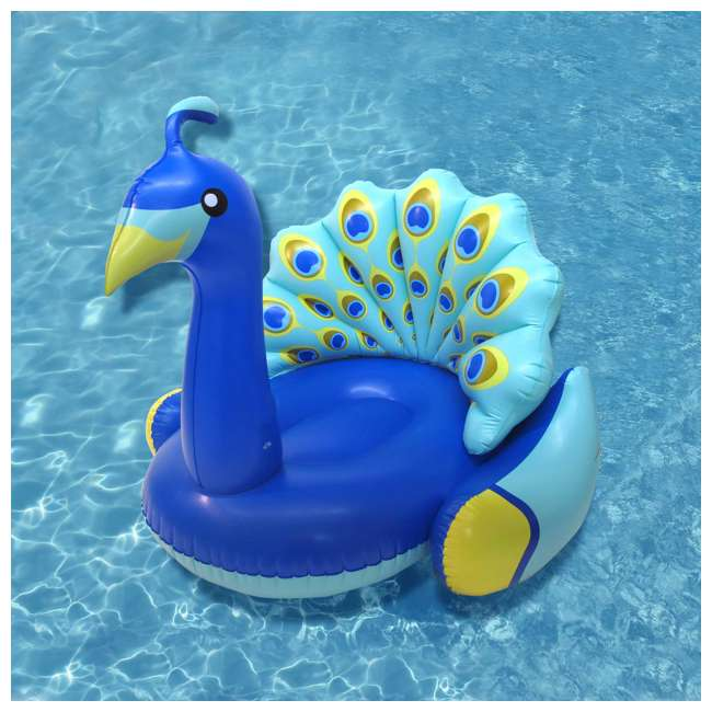 90705 + 56285EP Swimline Inflatable Peacock & Giant Inflatabull Swimming Pool Float Ride On 2