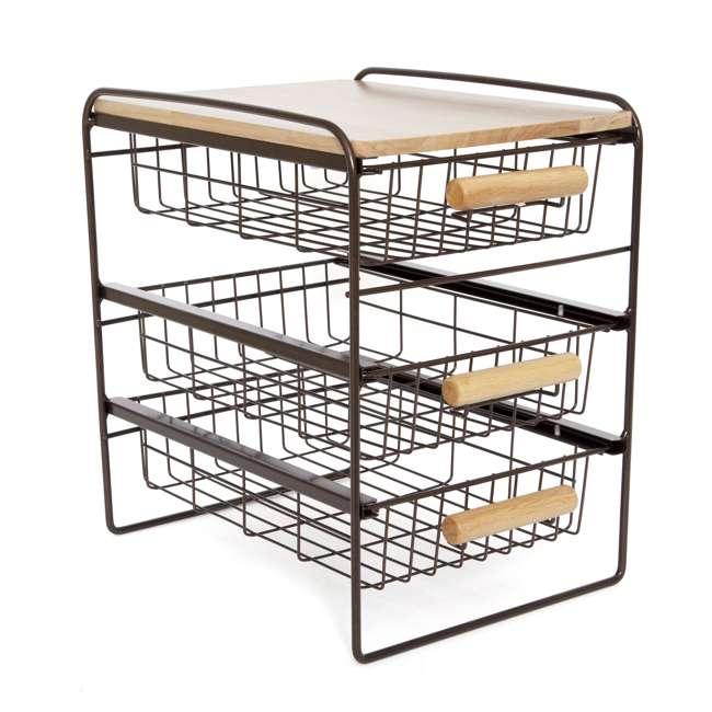 RA3TS-WB-BRN Origami Kitchen Countertop 3-Drawer Wood Top Organizer, Brown 4