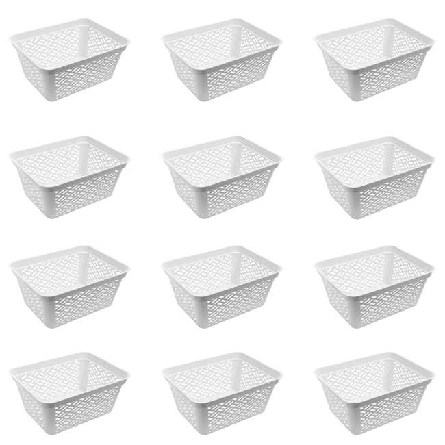 12 x FBA32138 Ezy Storage Large Decorative Plastic Brickor Shelf Pantry Basket Bin (12 Pack)