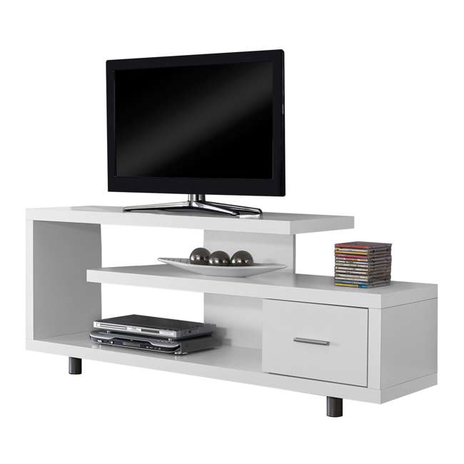 Monarch 60 Inch Modern Tv Stand With 1 Drawer White Ms Vm2573