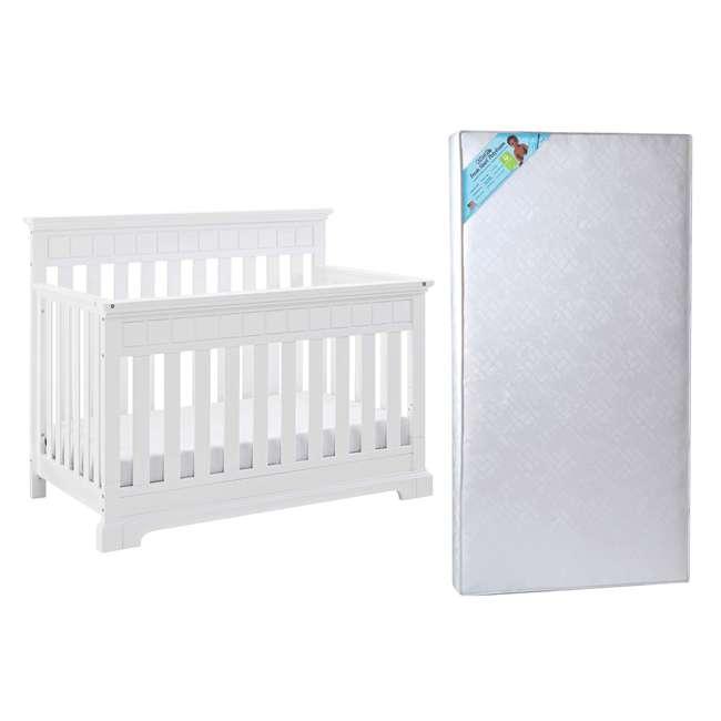 04565-501 + KM001-WGT1 Thomasville Kids Willow Crib, White & Kolcraft Fresh Start Crib Mattress