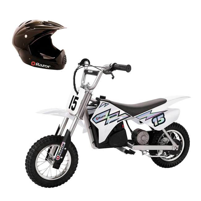 15128008 + 97775 Razor MX400 Dirt Rocket Electric Motorcycle, White + Helmet