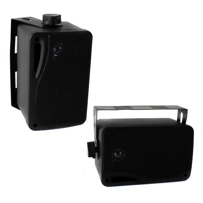 PLMR24B Pyle PLMR24B 3.5-Inch 200W 3-Way Weather Proof Mini Box Speaker System - Black (Pair)