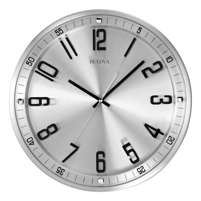 C4646 Bulova Clocks C4646 Silhouette 13 Inch Metal Analog Wall Clock, Stainless Steel