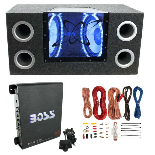 BNPS122 + R1100M + AKS8 Pyramid BNPS122 12-Inch 1200W Subwoofer with Box + 1100W Mono Amp + Amp Kit (Package)
