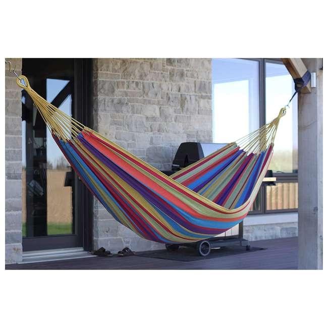 BRAZ120 Vivere Brazilian Style Cotton One Person Outdoor Backyard Hammock, Tropical 1